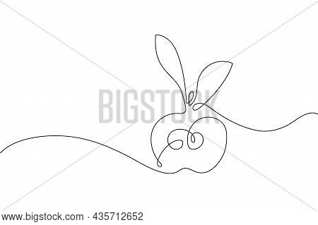 Continuous One Line Drawing Apple. Farmer Market Logo Concept. Abstract Hand Drawn Fruit By One Line