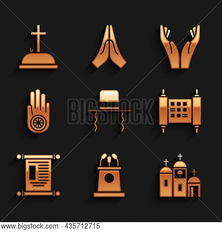 Set Orthodox Jewish Hat With Sidelocks, Stage Stand Or Tribune, Church Building, Decree, Paper, Parc