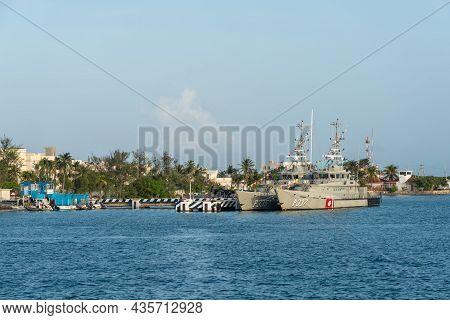 Isla Mujeres, Quintana Roo, Mexico - September 13, 2021: Military Ships Of The Mexican Navy, In Isla