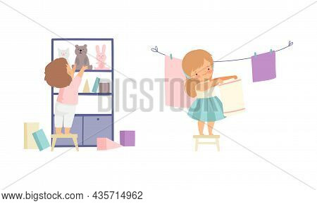 Cute Boy And Girl Doing Housework And Housekeeping Hanging Laundry On Rope And Arranging Stuff On Sh