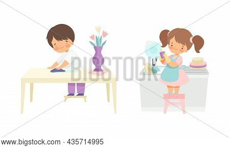Cute Girl And Boy Doing Housework And Housekeeping Wiping Table And Washing The Dishes Standing On S