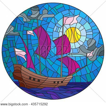 Illustration In Stained Glass Style With An Old Ship Sailing With Pink Sails Against The Sea And Clo