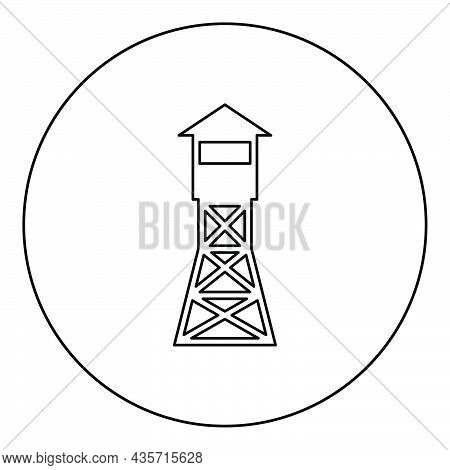 Watching Tower Overview Forest Ranger Fire Site Icon In Circle Round Black Color Vector Illustration
