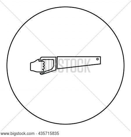 Wood Saw In Hand Tool In Use Arm For Cutting Timber Symbol Sawmill Concept Icon In Circle Round Blac