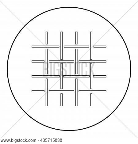 Fabric Fibers Grid Cloth Textile Icon In Circle Round Black Color Vector Illustration Solid Outline