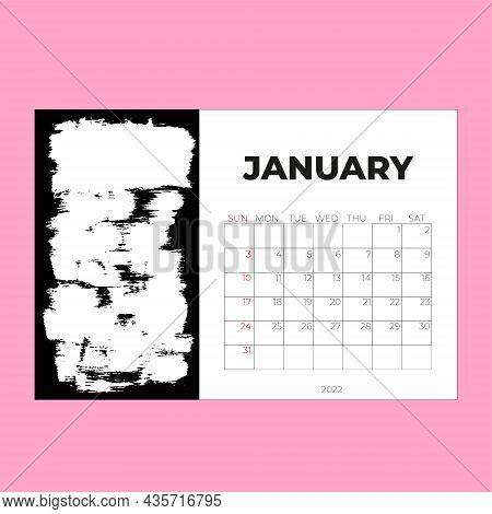January 2022 Calendar Planner - Vector Illustration. Template. Mock Up