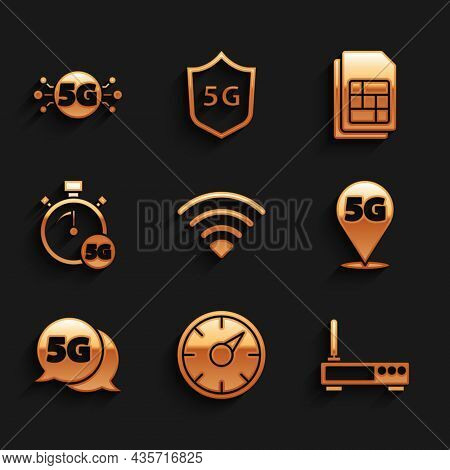 Set Wi-fi Wireless Network, Digital Speed Meter 5g, Router And Wi-fi Signal, Location, Sim Card And