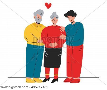 Elderly Parents With Their Son, Family. Grandparents And Grandson. Support For The Older Generation.