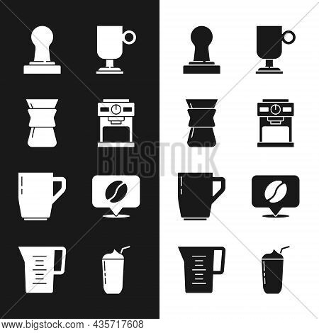 Set Coffee Machine, Pour Over Coffee Maker, Tamper, Irish, Cup, Location With Bean, Milkshake And Ju
