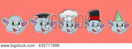 Head Rhinoceros Animal Sticker Set. Graduation, Chef, Magician And Party Hat. Perfect For Stickers,