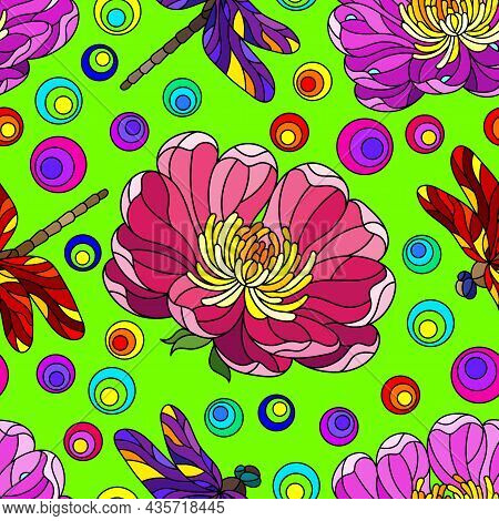 Seamless Pattern With Bright Flowers And Dragonflies In The Style Of Stained Glass, Flowers And Inse