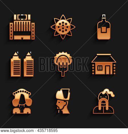 Set Dumplings On Fork, Ukrainian Cossack, House, Woman, Two Towers Dnipro, Bottle Of Vodka And Hotel