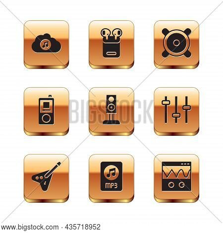Set Music Streaming Service, Electric Bass Guitar, Mp3 File Document, Stereo Speaker, Player, Oscill