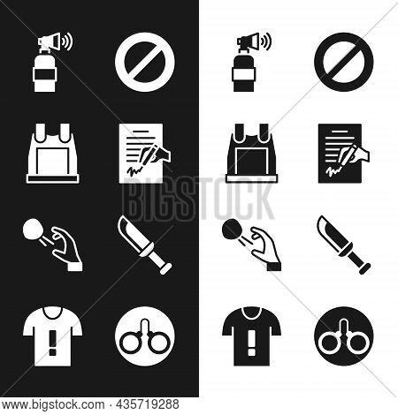 Set Petition, Bulletproof Vest, Air Horn, Ban, Hooligan Shooting Stones, Military Knife, Handcuffs A