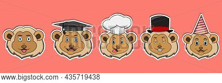 Head Lion Animal Sticker Set. Graduation, Chef, Magician And Party Hat. Perfect For Stickers, Logo,