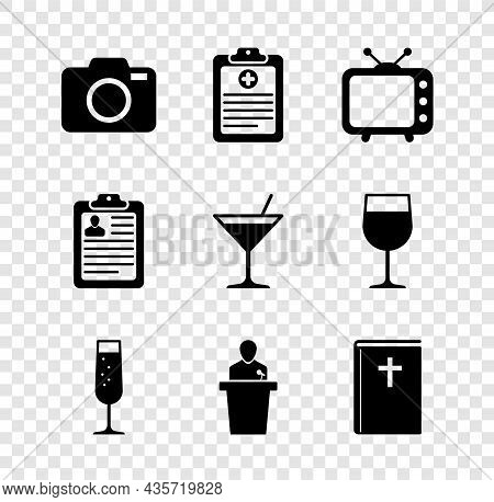 Set Photo Camera, Clinical Record, Television Tv, Glass Of Champagne, Speaker And Holy Bible Book Ic