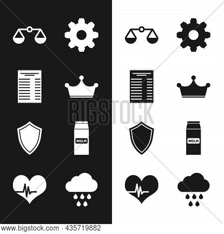 Set Crown, Paper Or Financial Check, Scales Of Justice, Cogwheel Gear Settings, Shield And Package F