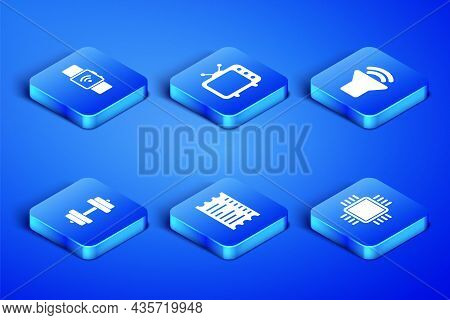 Set Processor With Cpu, Smartwatch Wireless, Paper Financial Check, Dumbbell, Television Tv And Spea
