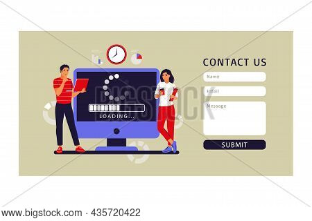 Update Concept. Programmers Upgrading Operation System Of Computer. Contact Us. Vector Illustration.