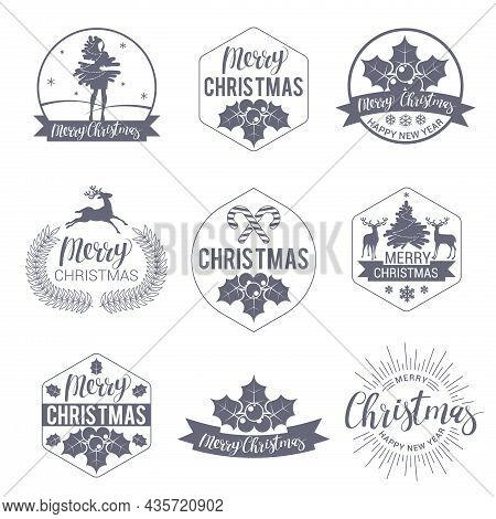 Christmas And Happy New Year Labels And Badges Vector Set Vector. Trendy Style Decoration Objects, S