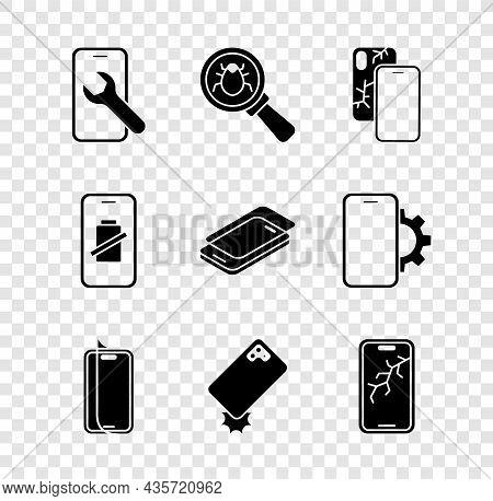 Set Mobile Service, System Bug, With Broken Screen, Glass Protector, Shockproof Phone, Smartphone Ba