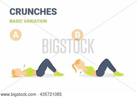 Girl Performing Crunches Home Workout Exercise Guide Illustration. Female Working On Her Abs Guide.