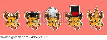 Head Giraffe Animal Sticker Set. Graduation, Chef, Magician And Party Hat. Perfect For Stickers, Log
