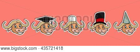 Head Buffalo Animal Sticker Set. Graduation, Chef, Magician And Party Hat. Perfect For Stickers, Log