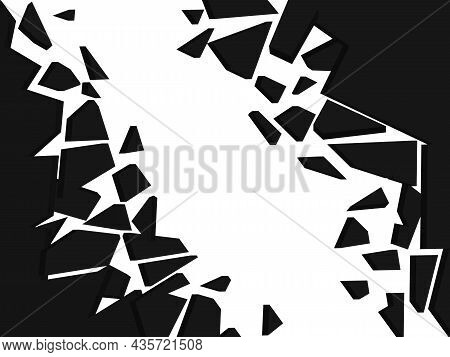 Wall Explosion Fragment, Abstract Explosion Background, Black And White Vector Illustration
