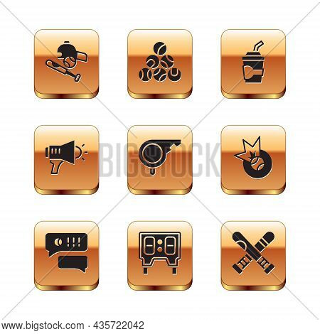 Set Baseball Bat With Ball, Hat, Speech Bubble Chat Baseball, Mechanical Scoreboard, Whistle, Megaph