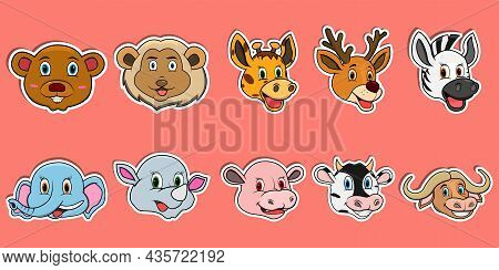Head Animal Sticker Set. For Logo, Label And Sticker. Vector And Illustration.