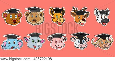 Head Animal Sticker Set. For Logo, Sticker And Graduation Theme. Vector And Illustration.