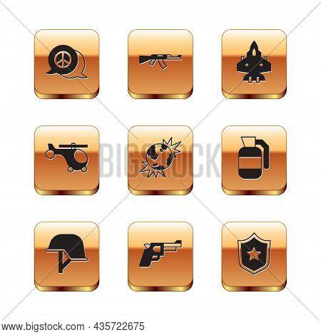 Set Peace, Military Helmet, Pistol Or Gun, Bomb Explosive Planet Earth, Helicopter, Jet Fighter, Pol