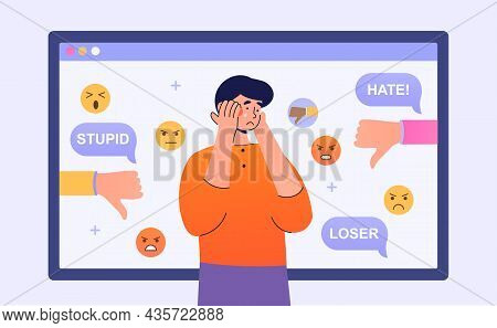 Trolling Online Concept. Man Crying Amid Comments.social Media, Chatting, Communication. Bad Reviews