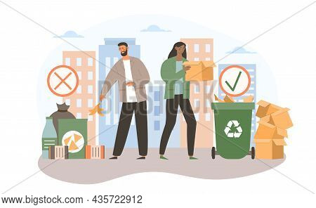 Throw Out Garbage Concept. Woman Throws Waste Into Special Garbage Can, Man Throws Garbage Down Stre