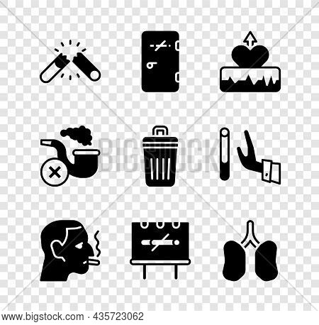 Set Broken Cigarette, No Smoking Area, Heartbeat Increase, Man, Lungs, Smoking Pipe With Smoke And T