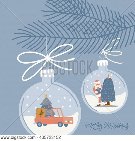 Christmas Glass Toy Hanging On Spruce Twig. Xmas Decor With Car, Fir Tree And Santa Inside. Square G