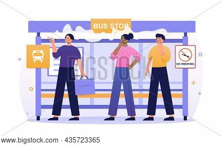 Smoking In Public Place Concept. Man With Cigarette At Bus Stop. Smoking Person Causes Discomfort To