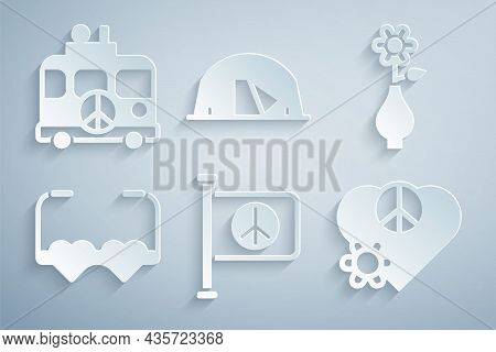 Set Flag Peace, Flower In Vase, Heart Shaped Love Glasses, Love, Tourist Tent And Hippie Camper Van