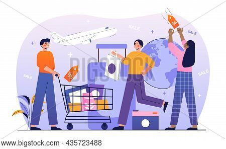 Shopping Tour Concept. Men And Women With Bags And Baskets Go On Shopping Trip. Characters Flying On