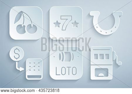 Set Lottery Ticket, Horseshoe, Casino Chips Exchange, Slot Machine, Slot And With Cherry Icon. Vecto