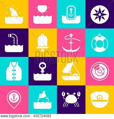 Set Captain Hat, Radar With Targets, Lifebuoy, Location Anchor, Ship Bell, Periscope, Shark Fin Ocea