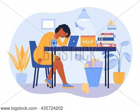 Professional Burnout Concept. Tired Woman Sitting At Her Desk And Working On Project. Employee Asks