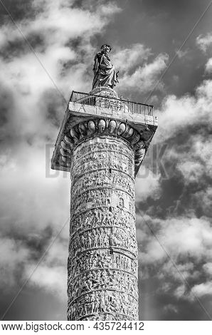 The Column Of Marcus Aurelius, Ancient Victory Column And Landmark In Piazza Colonna, Rome, Italy