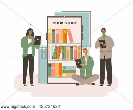 Online Mobile Library Concept. Man And Woman Buy Electronic Books In Store And Read Them. Characters