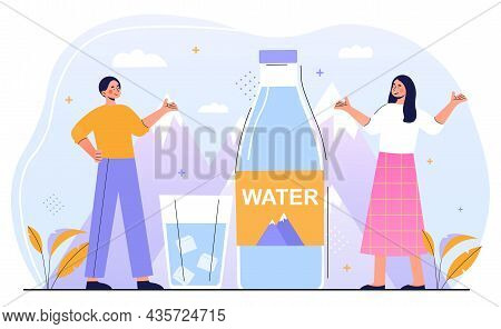 Mountain Water Concept. Man And Woman Present Clean Fresh Water From Artesian Well. Mineral Water Fr