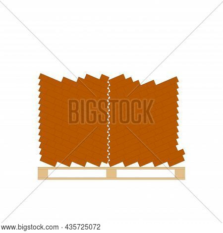 Storage Of Building Bricks Located On A Pallet. Flat Vector Illustration