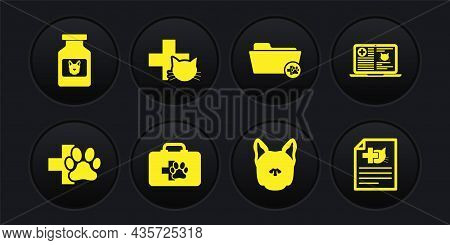 Set Veterinary Clinic, Clinical Record Cat On Laptop, Pet First Aid Kit, Dog, Medical Veterinary Fol