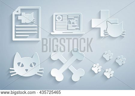 Set Crossed Bones, Veterinary Clinic, Cat, Paw Print, Clinical Record Dog Laptop And Medical Certifi