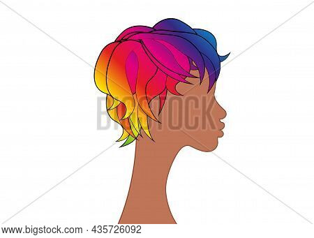 Lgbt Person With Rainbow Hair. Non Binary African American Person. Gay Pride. Lgbtq Concept. Isolate